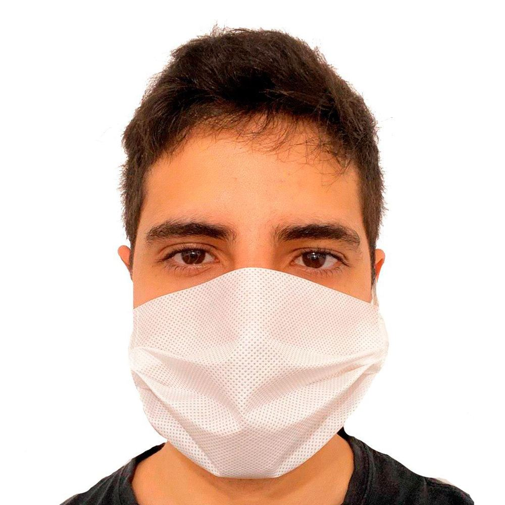 Máscara Descartável em TNT Branco com Elástico 50 un