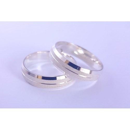 Par Aliança Abaulada Diamantada 4.3mm, Prata