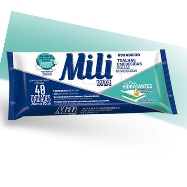Toalhas Umedecidas Mili Vita (uso Adulto) - 12 Pacotes  c/40 un cada - Lenço Umedecido ( total: 480 un)