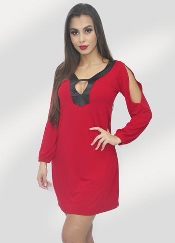 Vestido Curto Vermelho C/ Detalhe Cirre E Mangas Recortadas