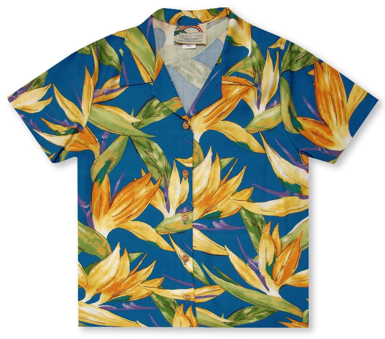 Paradise Found Mens Watercolor Bird of Paradise Hawaiian Shirt