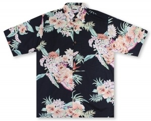Go Barefoot In Paradise Big And Tall Aloha Nui - Black* Hawaiian Shirt