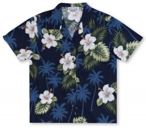 Pacific Legend Ladies Palms And Hibiscus Hawaiian Shirt