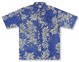 Go Barefoot Tahitian - Royal Blue Hawaiian Shirt