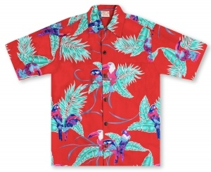 Go Barefoot In Paradise Big And Tall Tropical Birds - Red Hawaiian Shirt