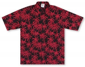 Rum Reggae Tall Palms 2 - Black Hawaiian Shirt
