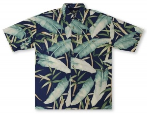 Bamboo Cay Bamboo Forest - Navy Hawaiian Shirt