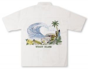 Bamboo Cay Woody Island - White Hawaiian Shirt