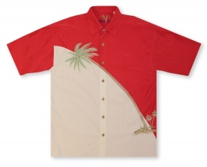 Bamboo Cay Hurricane Palm - Red Hawaiian Shirt