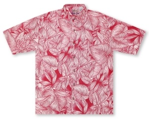 Bamboo Cay Leaf Cays- Red Hawaiian Shirt