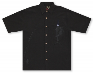 Bamboo Cay Shake The Hook - Black Hawaiian Shirt