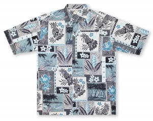 Go Barefoot Pineapple Blocks Hawaiian Shirt