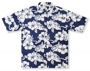 Hilo Hattie Hibiscus Blue / White Hawaiian Shirt