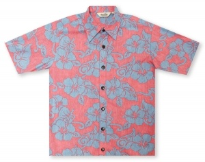 Hilo Hattie Hibiscus Red / Blue Hawaiian Shirt