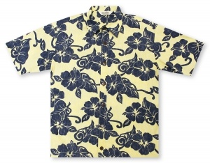 Hilo Hattie Hibiscus - Yellow / Blue Hawaiian Shirt