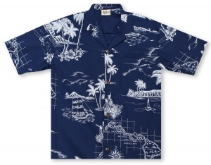 Hilo Hattie Map of Hawaii Hawaiian Shirt