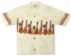Hilo Hattie Ukulele Chestband Hawaiian Shirt
