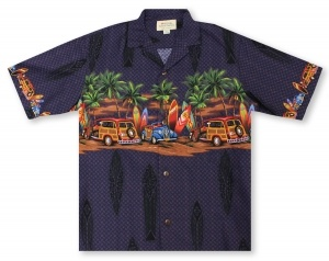 Hilo Hattie Woody Chestband Hawaiian Shirt