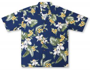 Aloha Republic Orchid Plumeria Hawaiian Shirt