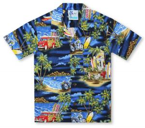 Beyond Paradise Panel-Sage Hawaiian Shirt