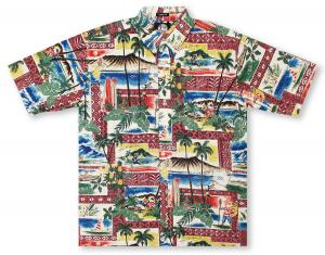 Reyn Spooner Hawaiian Christmas 2018 - Maroon Hawaiian Shirt