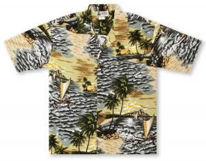 Aloha Republic Sunset Outriggers - Olive Hawaiian Shirt