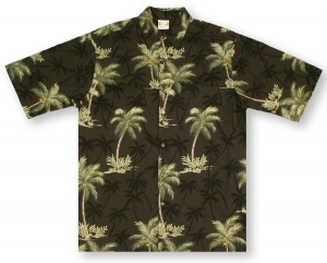 Go Barefoot Coconut Trees- Black* Hawaiian Shirt