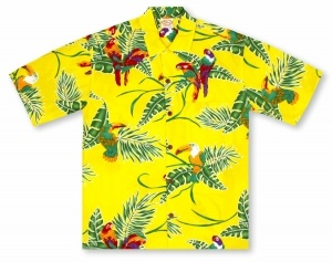 Go Barefoot In Paradise Big And Tall Tropical Birds - Yellow Hawaiian Shirt
