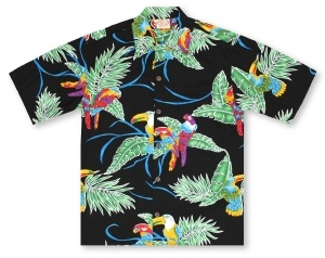 Go Barefoot Tropical Birds - Black Hawaiian Shirt