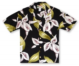 Paradise Found Ladies Calla Lily - Black Hawaiian Shirt