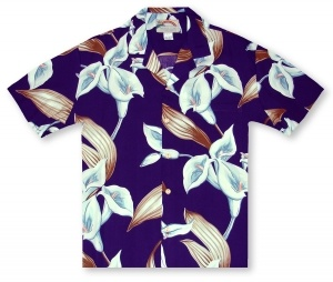 Paradise Found Ladies Calla Lily - Blue Violet Hawaiian Shirt