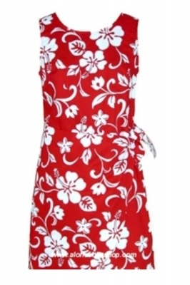 RJC Girls Hibiscus Red Sarong Dress Hawaiian Shirt