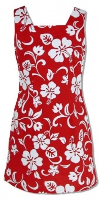 RJC Ladies Hawaiian Aloha Short Tank Dress Red Hibiscus Hawaiian Shirt