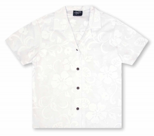RJC Ladies Hibiscus White Hawaiian Shirt