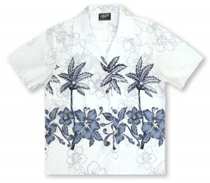 RJC Ladies Palm Hibiscus - Pale Blue Hawaiian Shirt