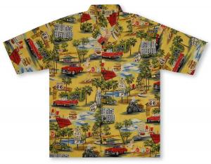 Aloha Republic Route 66 Memories - Yellow Hawaiian Shirt