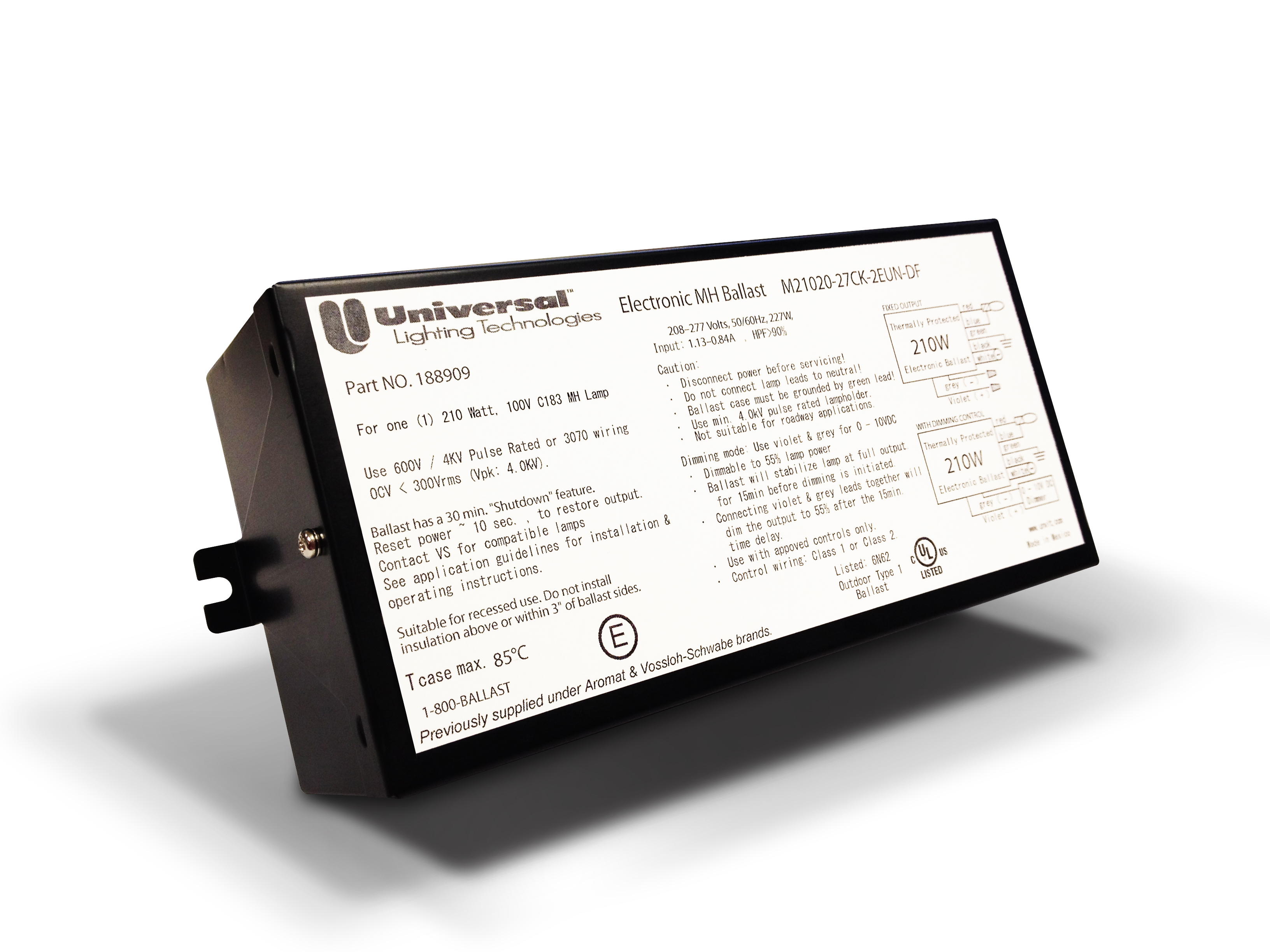 Universal Lighting Technology 150W Electronic MH Ballast     Part No 188638.05