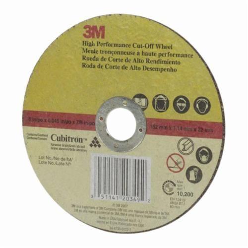 3M™ 051141-20349 High Performance Type 1 Cut-Off Wheel, 6 in Dia x 0.045 in THK, 7/8 in Arbor, Ceramic Abrasive