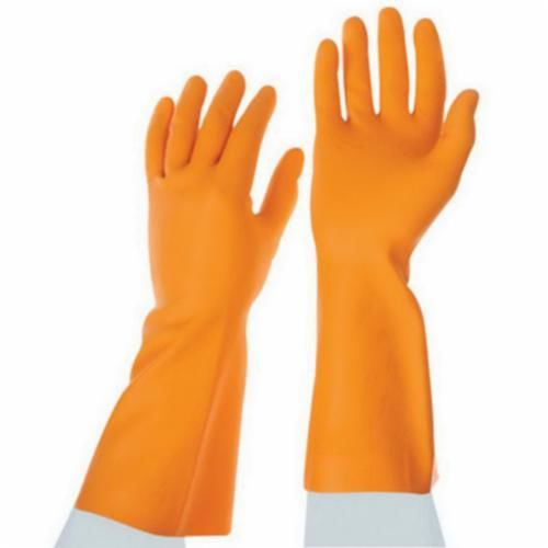 AciTek™ 49-252-9 AciTek™ 49-252-9 Disposable Chemical Resistant Gloves, SZ 9, Citrus Orange, 100% Natural Latex Rubber