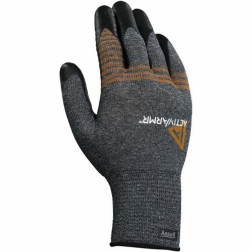 ActivArmr® 97-007-S ActivArmr® 97-007 Light Duty Multi-Purpose Coated Gloves, S, Foam Nitrile Palm, Black/Gray/Orange