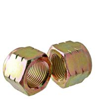 BBI NE Standard Lock Nut With Nylon Insert, Imperial, 1/2-13, Right Hand, C, Medium Carbon Steel, Zinc Yellow