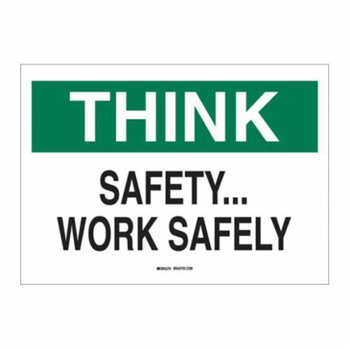 Brady® 25338 Safety Slogan Sign, 10 in H x 14 in W, Green/Black on White, B-401 Plastic