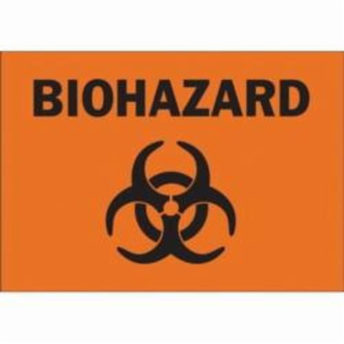 Brady® 25743 Rectangle Biohazard Sign, 10 in H x 14 in W, Black on Orange, Surface Mount, B-401 Plastic