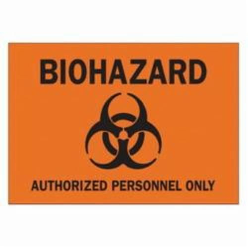 Brady® 40776 Rectangle Biohazard Sign, 10 in H x 14 in W, Black on Orange, Surface Mount, B-555 Aluminum