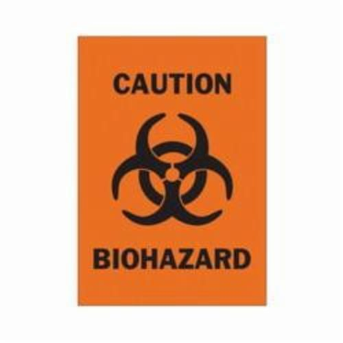 Brady® 43357 Rectangle Biohazard Sign, 10 in H x 7 in W, Black on Orange, Surface Mount, B-555 Aluminum