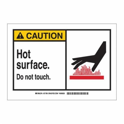 Brady® 46741 Caution Sign, 10 in H x 14 in W, Black/Red on Yellow/White, Surface Mount, B-555 Aluminum