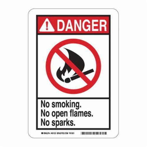 Brady® 48976 Danger Safety Sign, 14 in H x 10 in W, Red/Black on White, Surface Mount, B-555 Aluminum