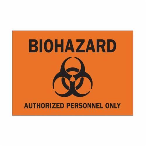 Brady® 69767 Biohazard Sign, 10 in H x 14 in W, Black on Orange, Surface Mount, B-120 Premium Fiberglass