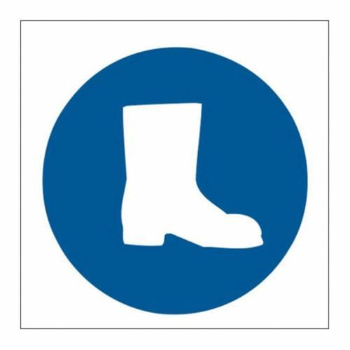 Brady® 88527 Protective Wear Sign, 7 in H x 7 in W, Blue on White, Self-Adhesive Mount, B-302 Polyester