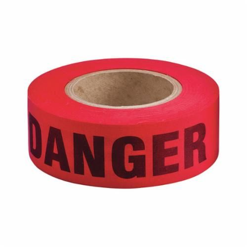 Brady® 91086 Re-Pulpable Barricade Tape, DANGER, 50 yd L x 2 in W, Red/Black, Woven Biodegradable Cotton